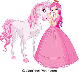 bonito, princesa, e, cavalo