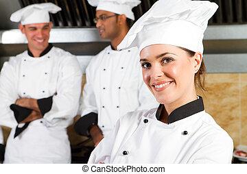 bonito, profissional, cozinheiros, jovem