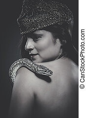bonito, python, mulher, cobra, latim
