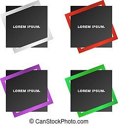 bonito, quadrado, banner., dois, object., criativo, apoplexia, pretas, combinado, multi-colorido, squares., inteiro, listras