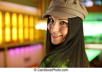 bonito, quadril, mulher, dof., raso, jovem, hat., retrato, boné