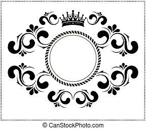 bonito, quadro, coroa, calligraphic