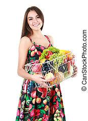 bonito, quadro, legumes, mulher, frutas