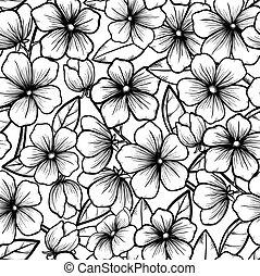 bonito, ramos, esboço, árvores., preto-e-branco, florescer, seamless, style., flowers., fundo, spring., símbolo