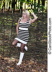 bonito, ramos, mulher, wattled, cerca