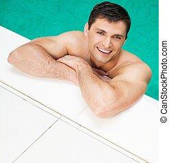 bonito, relaxante, jovem, piscina, homem