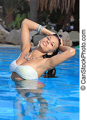 bonito, relaxante, piscina, mulher
