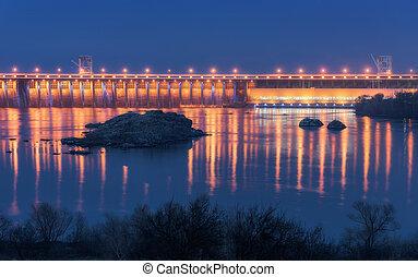 bonito, represa, industrial, paisagem, night.