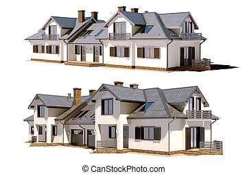 bonito, residencial, 3d, rend, casa