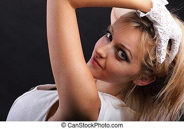 bonito, retrato, branca, mulher, luvas