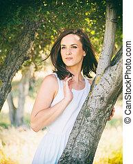 bonito, retrato, branca, mulher, natureza