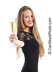 bonito, retrato, brindar, mulher, champanhe