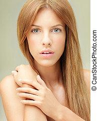 bonito, retrato, close-up, mulher