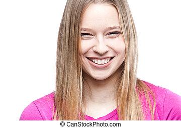 bonito, retrato, close-up, mulher, jovem