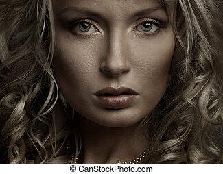 bonito, retrato, de, um, mulher jovem