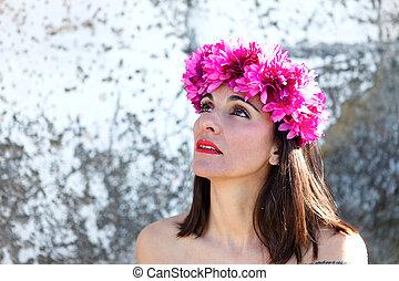 bonito, retrato, de, um, mulher madura, com, moda, headband