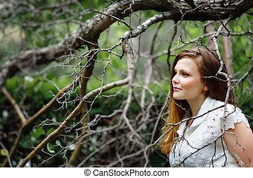 bonito, retrato, espantoso, mulher, floresta