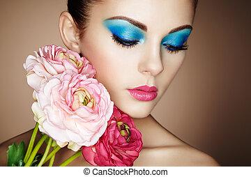 bonito, retrato, flores, mulher, jovem