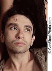 bonito, retrato, homem jovem