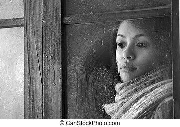 bonito, retrato, janela, mulher, atrás de
