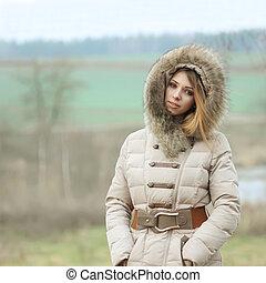 bonito, retrato, loiro, inverno