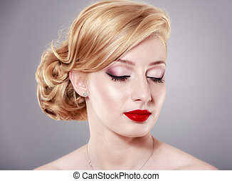 bonito, retrato, loiro, mulher