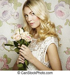 bonito, retrato, loiro, mulher, flores