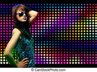 bonito, retrato, menina, dançar