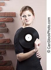 bonito, retrato, menina, disco, vinil