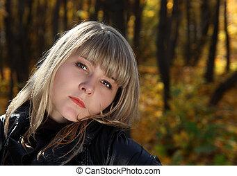 bonito, retrato, menina, jovem
