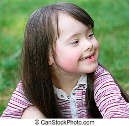 bonito, retrato, menina, jovem, sorrindo