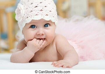bonito, retrato, menina, olhos azuis
