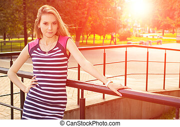 bonito, retrato, menina, parque