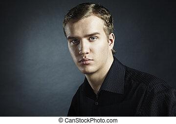 bonito, retrato, moda, homem jovem