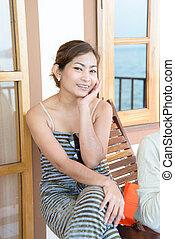 bonito, retrato, mulher, asiático