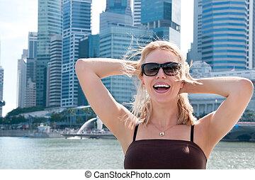 bonito, retrato, mulher, cingapura