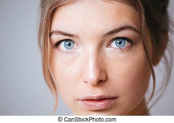 bonito, retrato, mulher, closeup