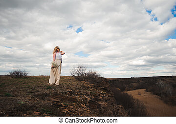 bonito, retrato, mulher, field., loura