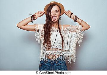 bonito, retrato, mulher, hippie, jovem
