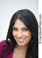 bonito, retrato, mulher, indianas