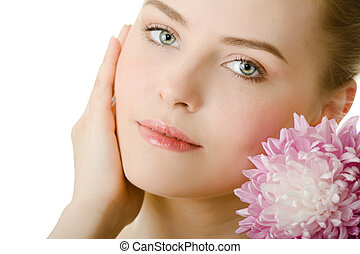 bonito, retrato, mulher, isolado, flor