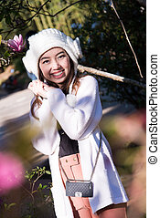 bonito, retrato, mulher, jardim, asiático