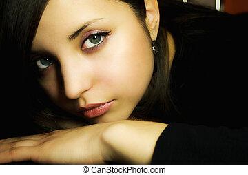 bonito, retrato, mulher, jovem