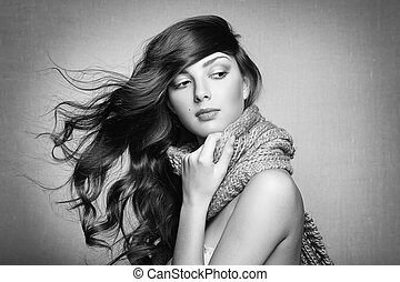 bonito, retrato, mulher, jovem, echarpe