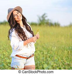 bonito, retrato, mulher, jovem, natureza