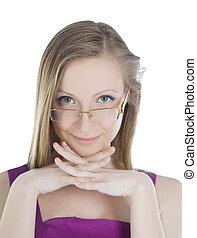bonito, retrato, mulher, loura, óculos