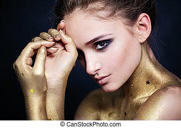 bonito, retrato, mulher, moda
