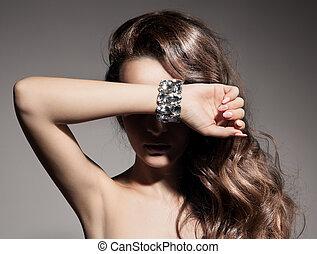 bonito, retrato, mulher, moda, jóia