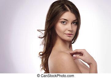 bonito, retrato, mulher, natural
