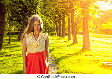 bonito, retrato, mulher, parque, jovem